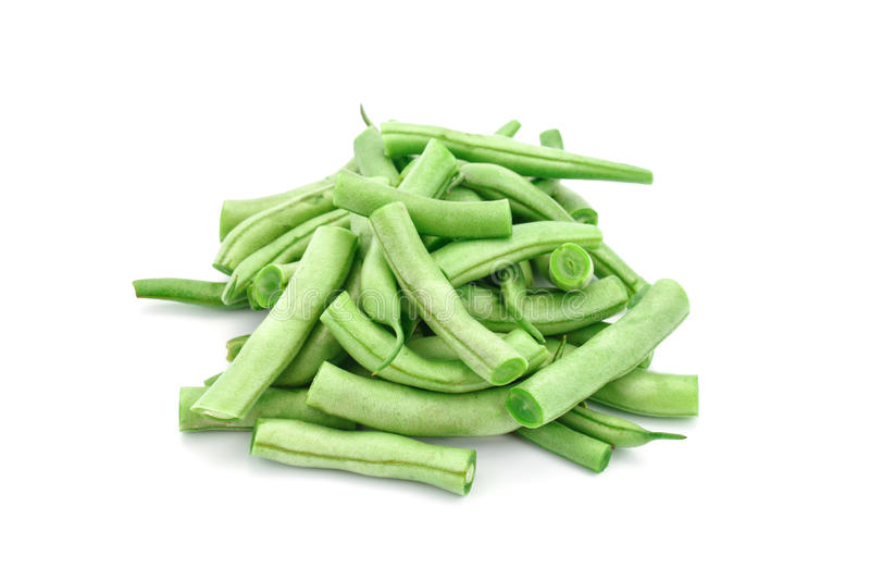 Fresh green beans on a white background. royalty free stock photos
