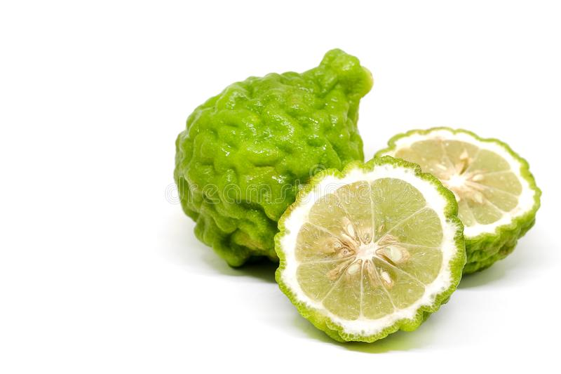 Fresh Green Bergamot or Leech Lime fruit slice stock photography
