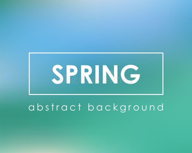 Fresh green blue spring card background. Vector illustration royalty free illustration