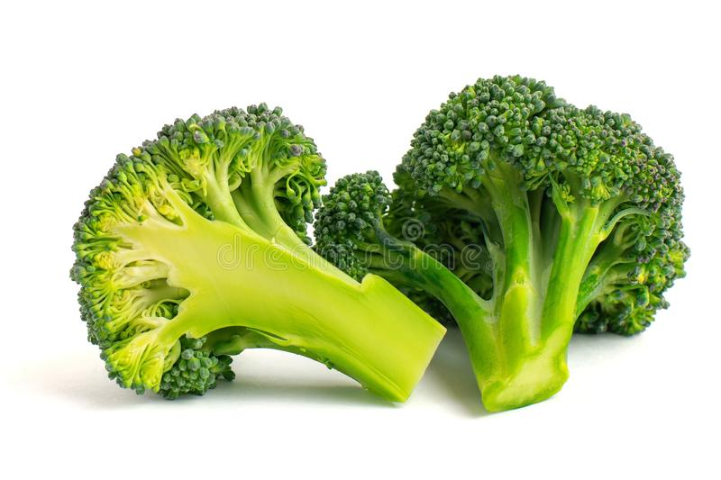 Fresh green broccoli isolated on white background royalty free stock images