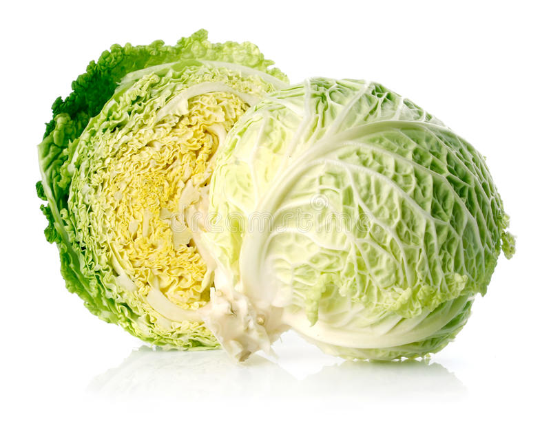 Download Fresh Green Cabbage Fruit With Cut Isolated Stock Image - Image: 11850169