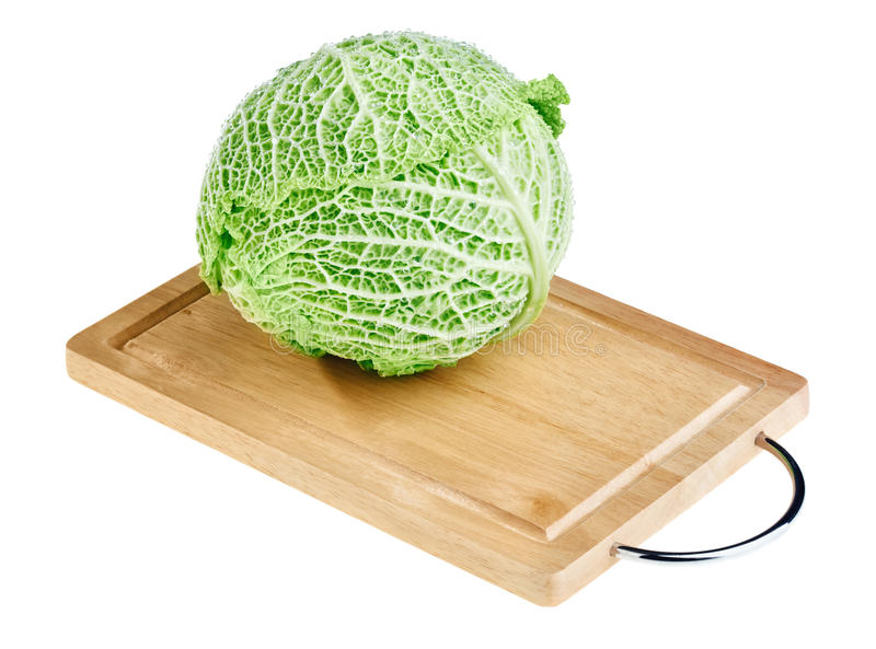 Download Fresh Green Cabbage Head On Wooden Chopping Board Stock Image - Image: 18790395