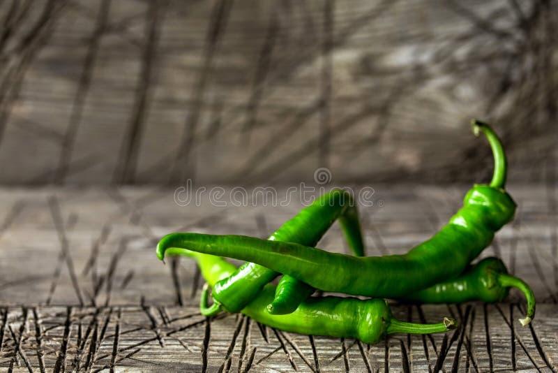 Fresh green chilli pepper stock image
