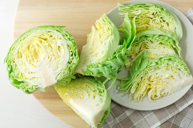 Fresh chopped head of cabbage stock photography