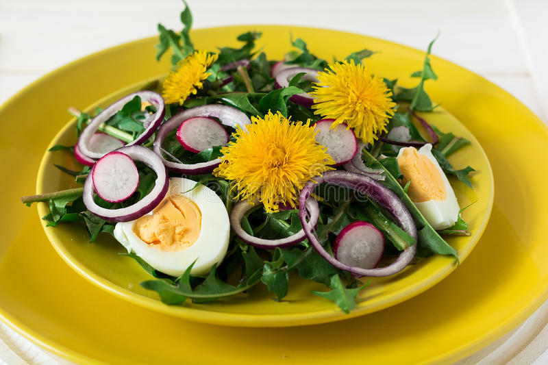 Fresh green dandelion salad on yellow plate royalty free stock photo