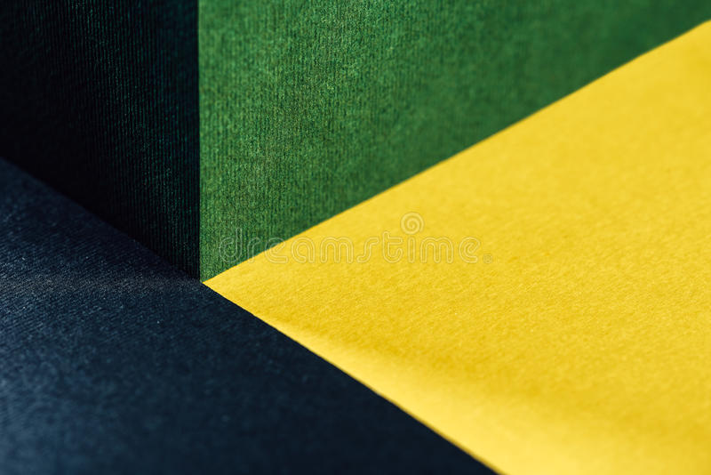 Fresh Green, Gold Yellow And Charcoal Gray Abstract Geometric Background. With Paper Texture royalty free stock photo