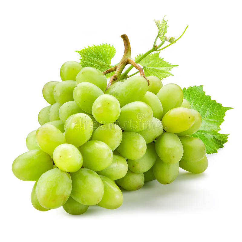 Free Fresh Green Grapes With Leaves. Isolated On White Stock Photography - 89128522
