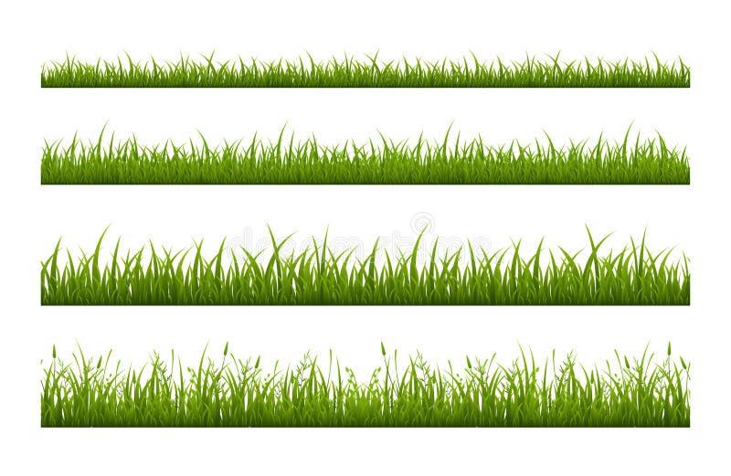 Fresh green grass line flat vector seamless pattern stock image