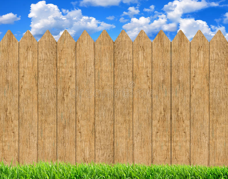 Fresh Green Grass Over Wood Fence Background And Blue Sky. Fresh Spring Green Grass Over Wood Fence Background And Blue Sky stock images