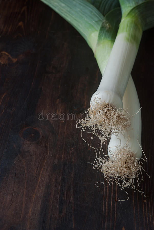 Download Fresh Green Leek On A Table Stock Image - Image of nobody, organic: 99209793