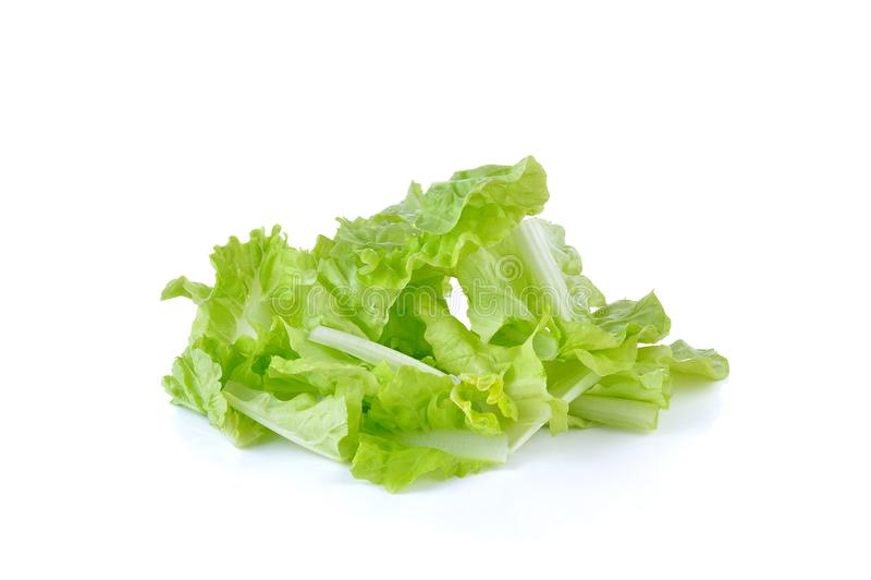 Fresh green lettuce sliced on white background royalty free stock photo