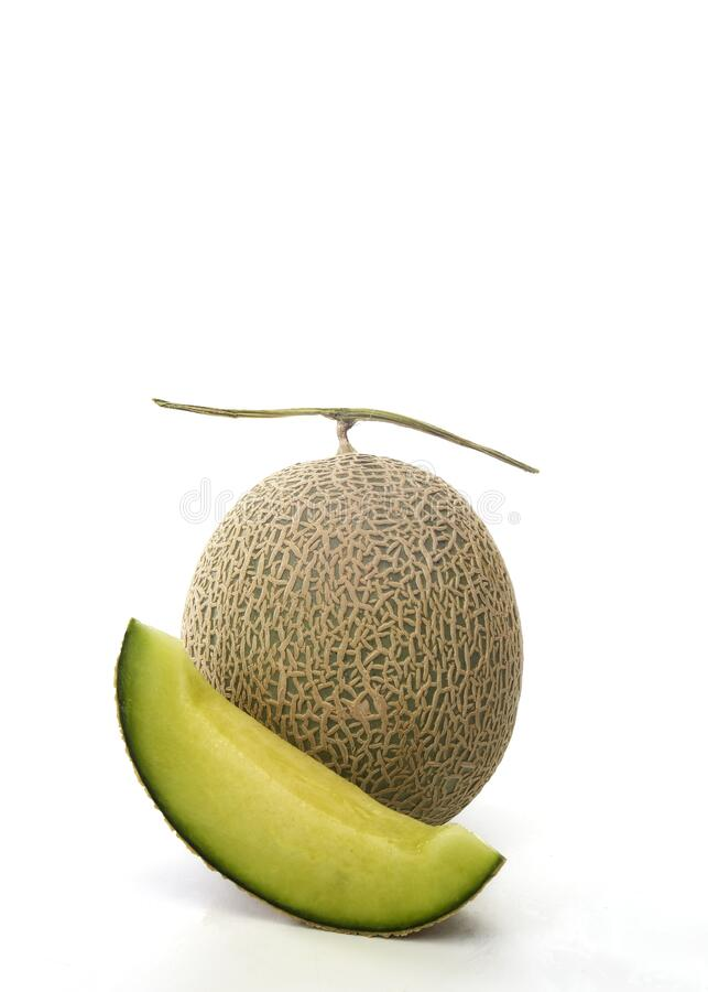 Fresh green melon and slice on white stock photos