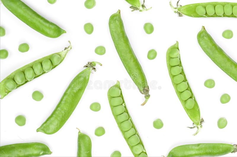 Fresh green pea pod isolated on white background with copy space for your text. Top view. Flat lay pattern.  stock photo