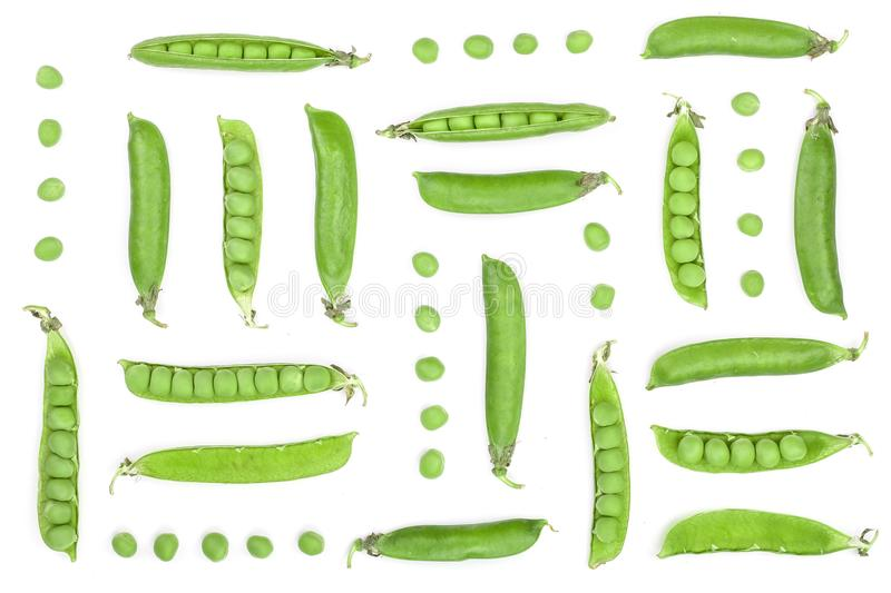 Fresh green pea pod isolated on white background. Set or collection. Top view. Flat lay pattern stock photography