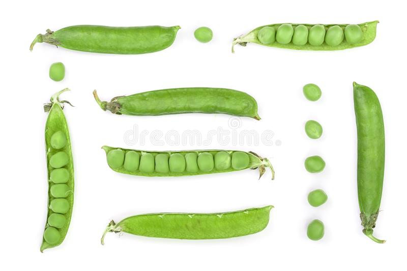 Fresh green pea pod isolated on white background. Set or collection. Top view. Flat lay pattern stock images