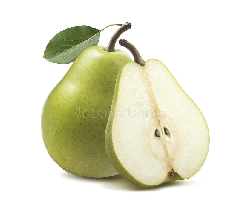 Free Fresh Green Pear Half Isolated On White Background Stock Images - 84050724