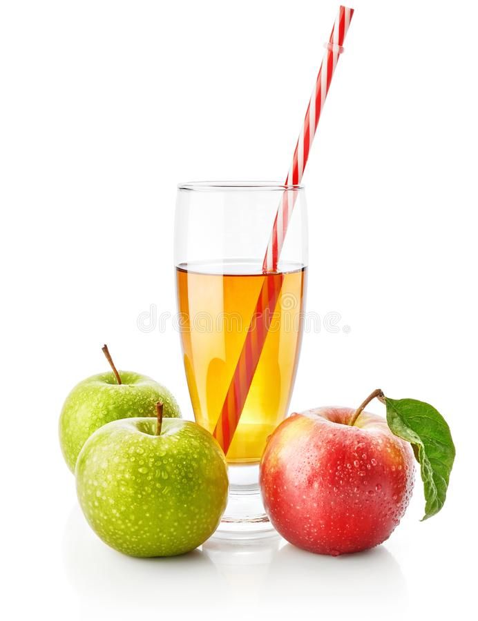 Fresh green and red apple juice drink royalty free stock image