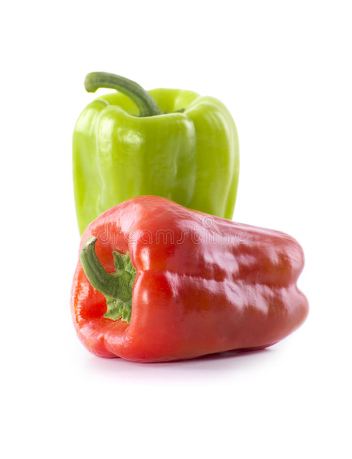 Fresh Green and Red Pepper stock images