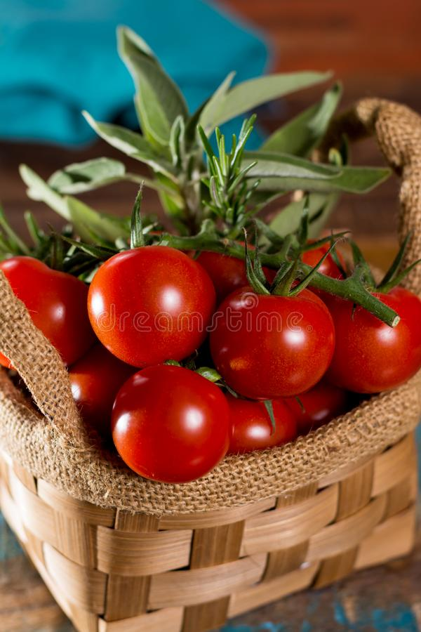 Fresh green sage herb, and tasty cherry tomatoes on vine stock photo