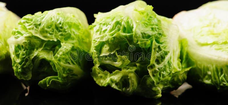 Fresh green salad. On the black background, organic, ingredient, vegetable, lettuce, food, vitamin, healthy, leaf, vegetarian, freshness, raw, nutrition royalty free stock images