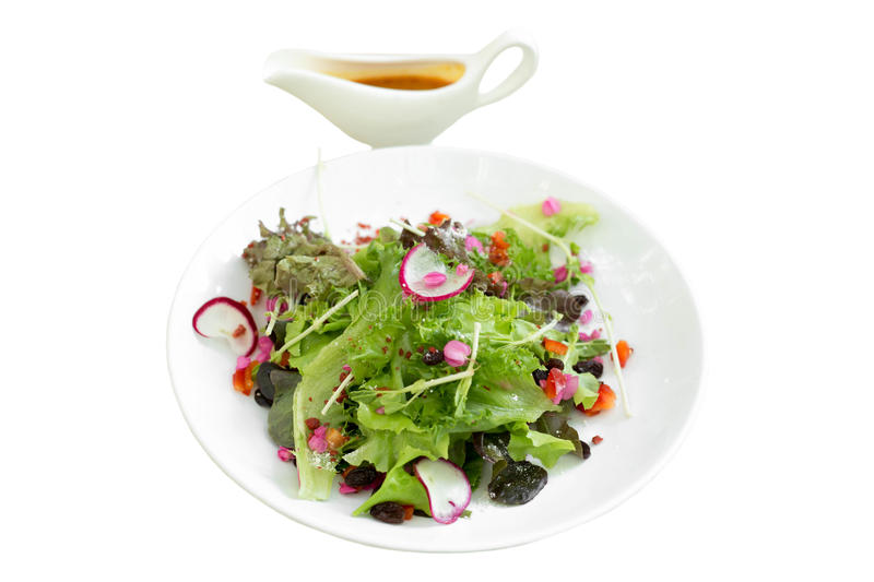Fresh green salad with lettuce and radishes with salad cream is. Olated in white background stock photos