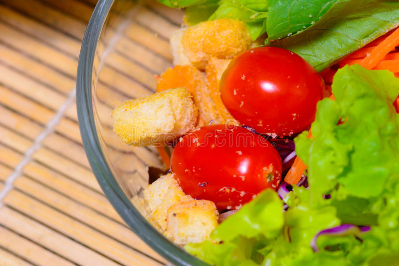 Fresh green salad on the table.  royalty free stock photos