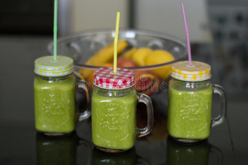 Fresh green smoothie royalty free stock photography