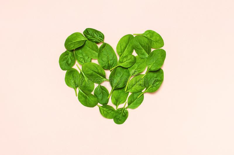 Fresh green spinach leaves in the shape of heart on pink background Flat lay top view copy space. Creative food concept. royalty free stock photos