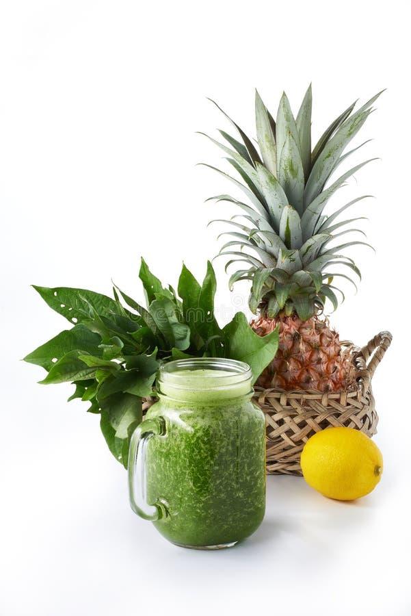 Fresh green vegetable smoothie stock photos