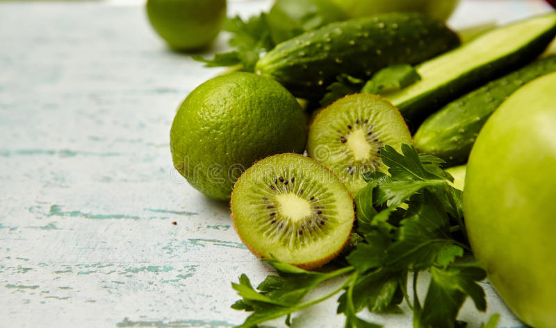 fresh green vegetables and fruit stock photo
