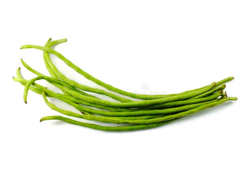Green yard long bean on white background stock images