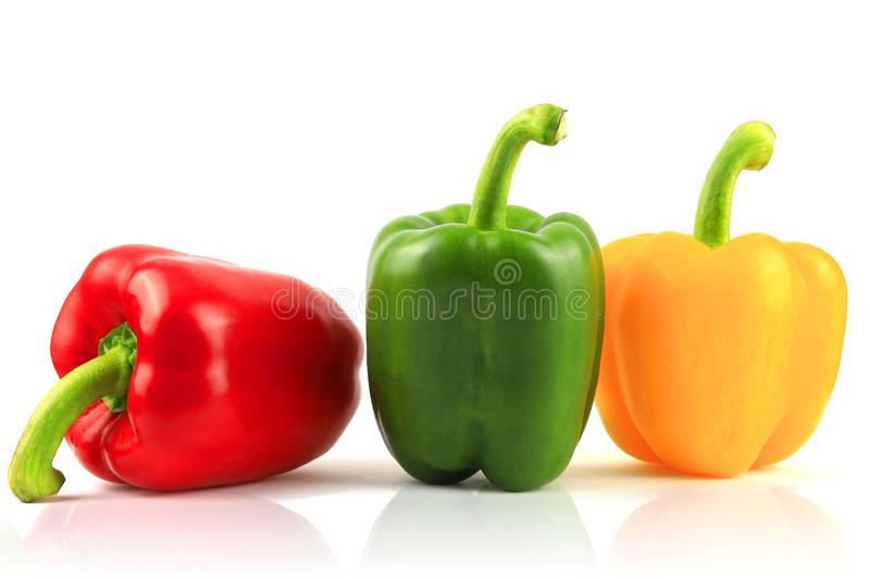 Fresh Green, yellow, red bell pepper. Sweet pepper. Giant pepper. Isolate on white background. Save with clipping path royalty free stock photos