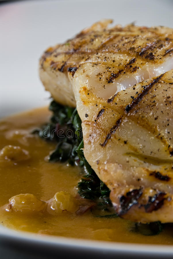 Fresh grilled grouper. Over spinach royalty free stock photo