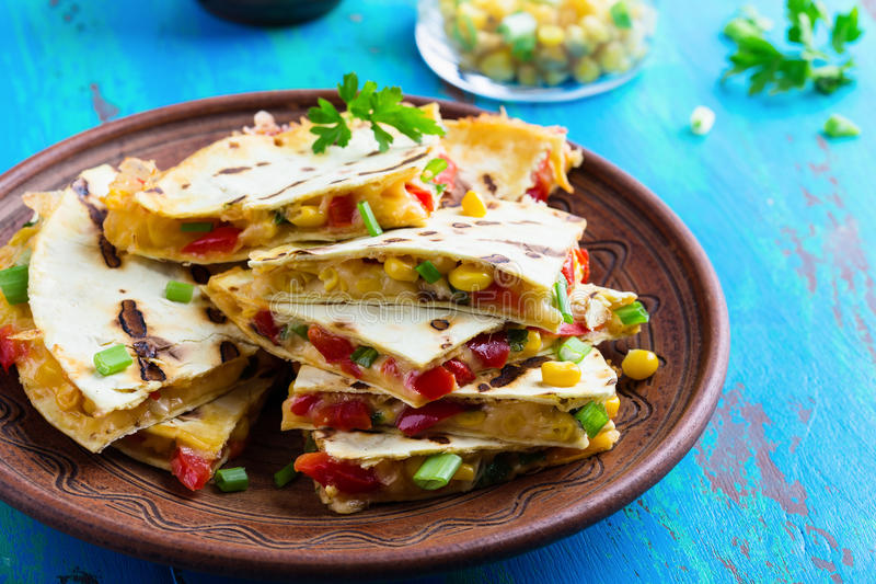 Fresh grilled red bell pepper quesadillas with corn royalty free stock images