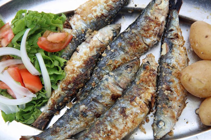 Fresh grilled Sardines with Potato and Lettuce stock image