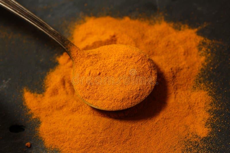 Fresh ground Turmeric powder close up view. Fresh ground Turmeric powder on spoon close up view royalty free stock photos