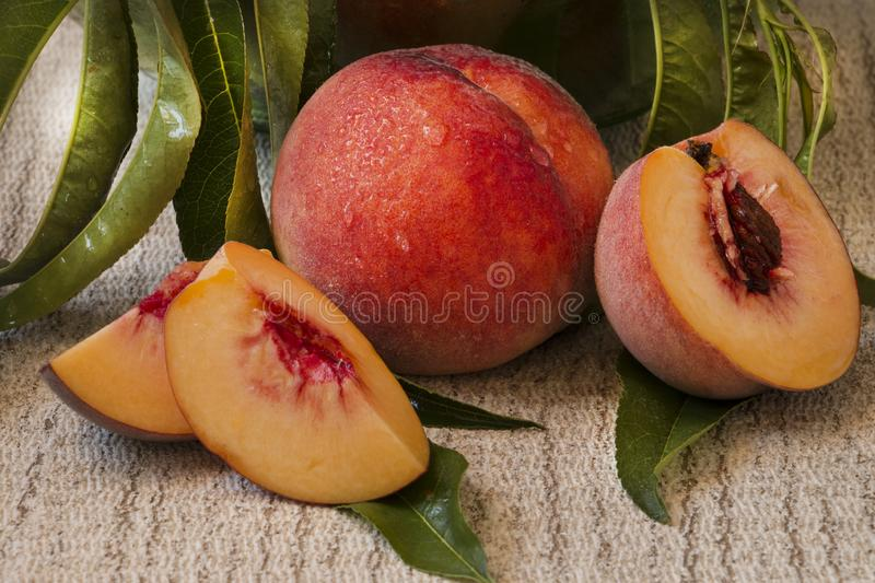 Fresh group of sliced peaches on wooden background in the garden royalty free stock photos