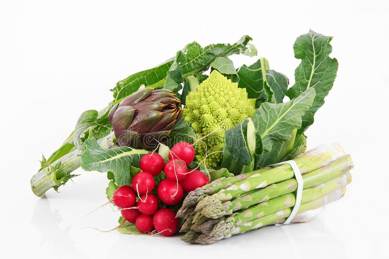 Fresh group of vegetables on white background. A fresh group of vegetables on white background royalty free stock photos