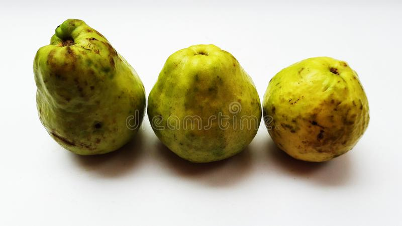 Fresh guava isolated on white background closeup image. Cabbage, marketplace, shelf, sell, tomatoes, sale, peppers, fruits, supermarket, store, department royalty free stock image