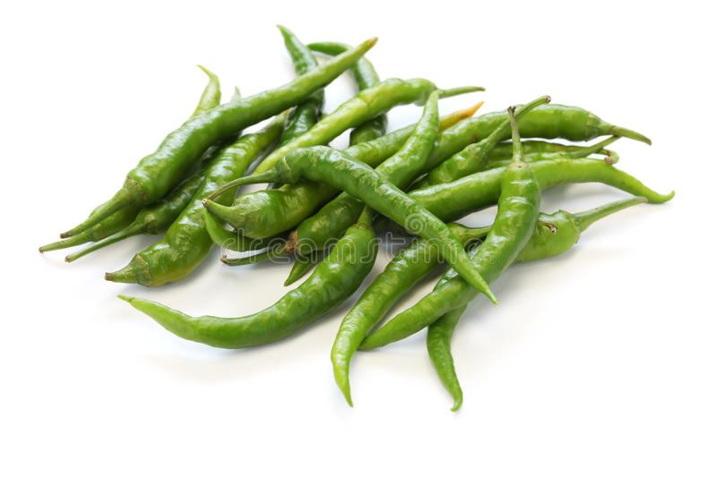 Fresh guindillas peppers. Fresh green chili isolated on white background royalty free stock image