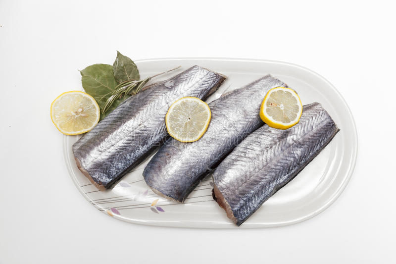 Fresh hake fillets stock images