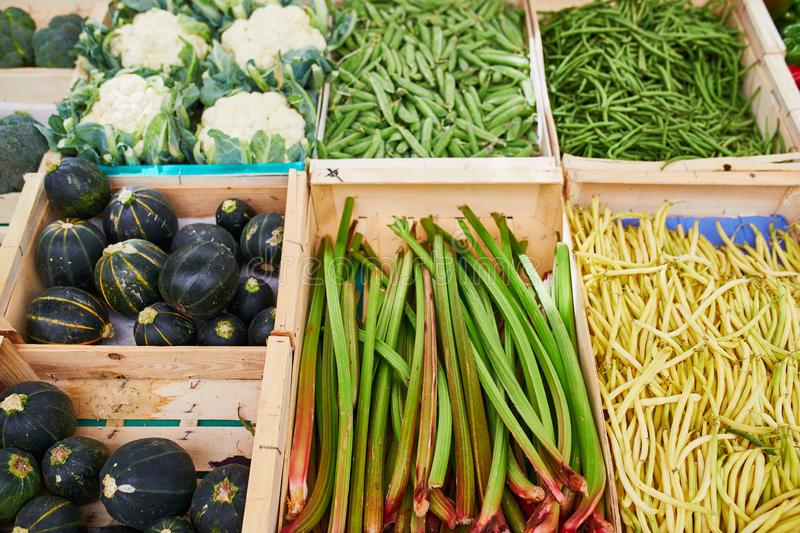 Fresh healthy bio fruits and vegetables on farmer market stock image