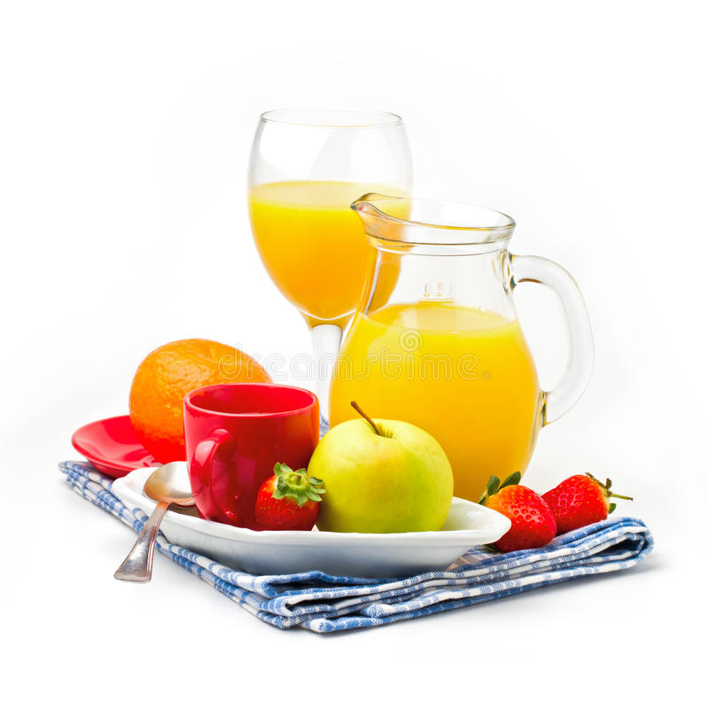 Fresh healthy breakfast. On white background royalty free stock photography
