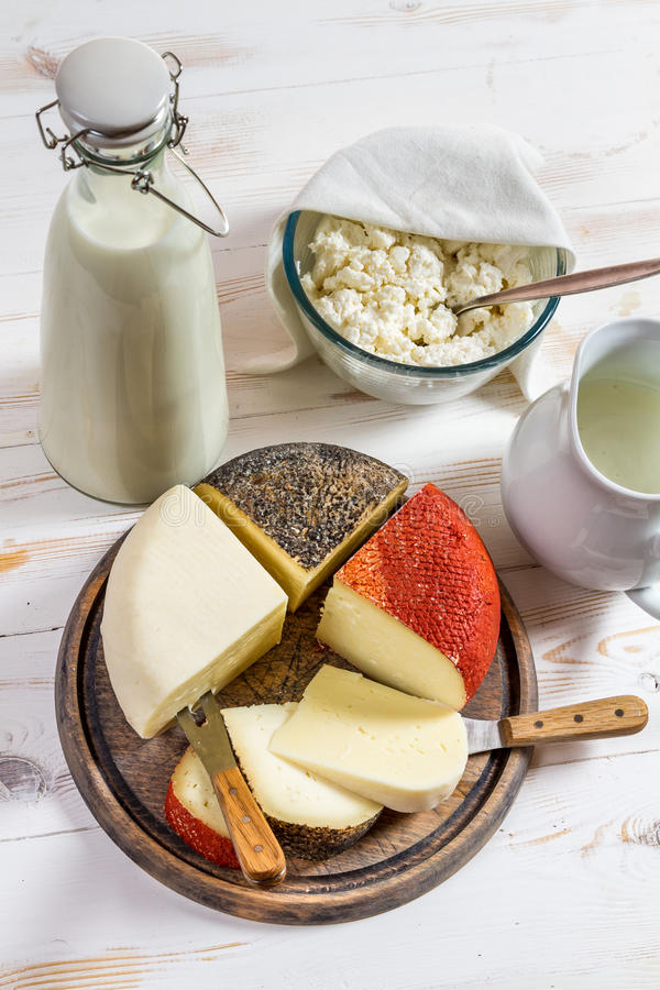Fresh and healthy dairy products for breakfast stock photo