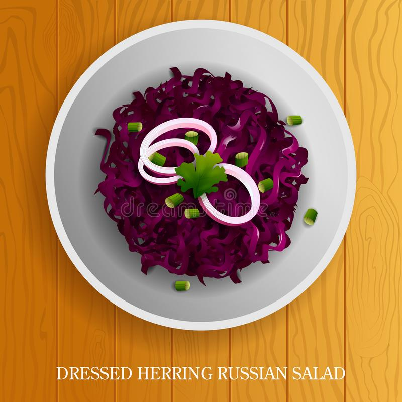 Fresh and Healthy Dressed Herring Russian Salad on wooden background. Vector illustration of Fresh and Healthy Dressed Herring Russian Salad on wooden background royalty free illustration