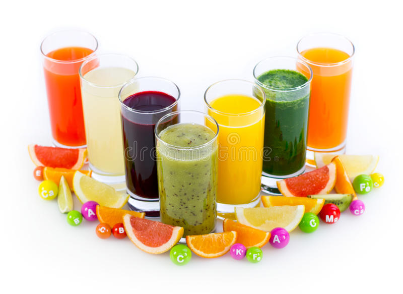Fresh and healthy fruit and vegetable juices royalty free stock photo