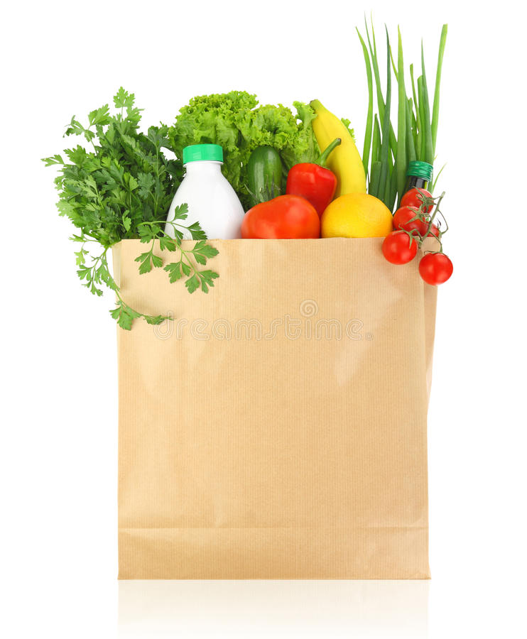 Free Fresh Healthy Groceries In A Bag Stock Photos - 34102313