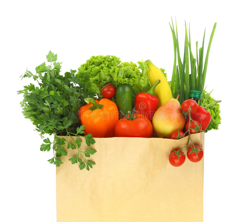 Fresh healthy groceries stock image