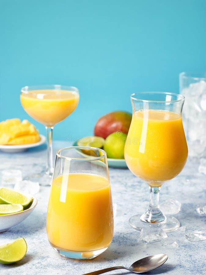 Fresh healthy mango smoothies stock photo
