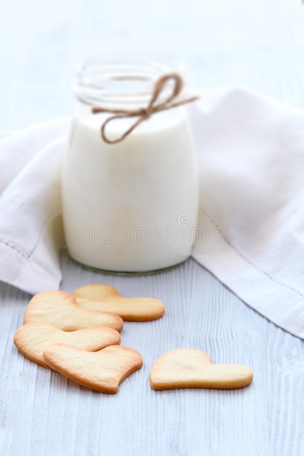Fresh healthy milk and cookies. royalty free stock images